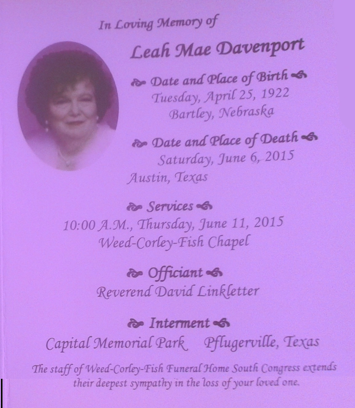 Leah Mae Guthrie Davenport